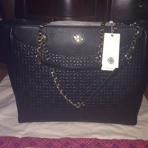 """Brand new """"Tory Burch"""" Black Leather Tote"""